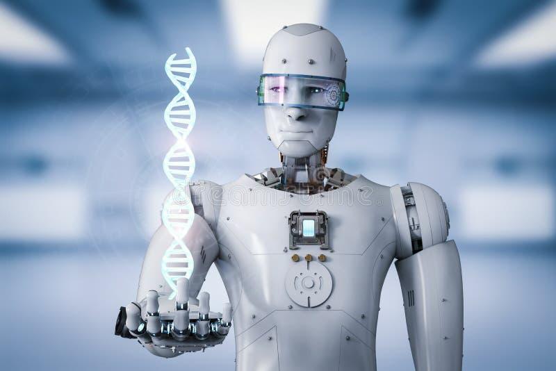 Robot d'Android tenant l'hélice d'ADN photos libres de droits