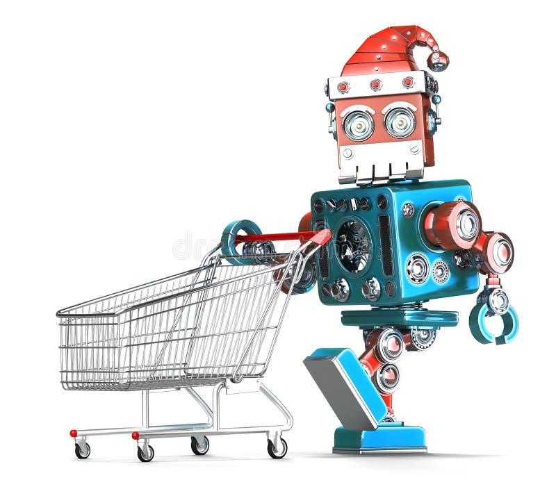 Robot d'annata Santa con il carrello Contiene il percorso di ritaglio royalty illustrazione gratis