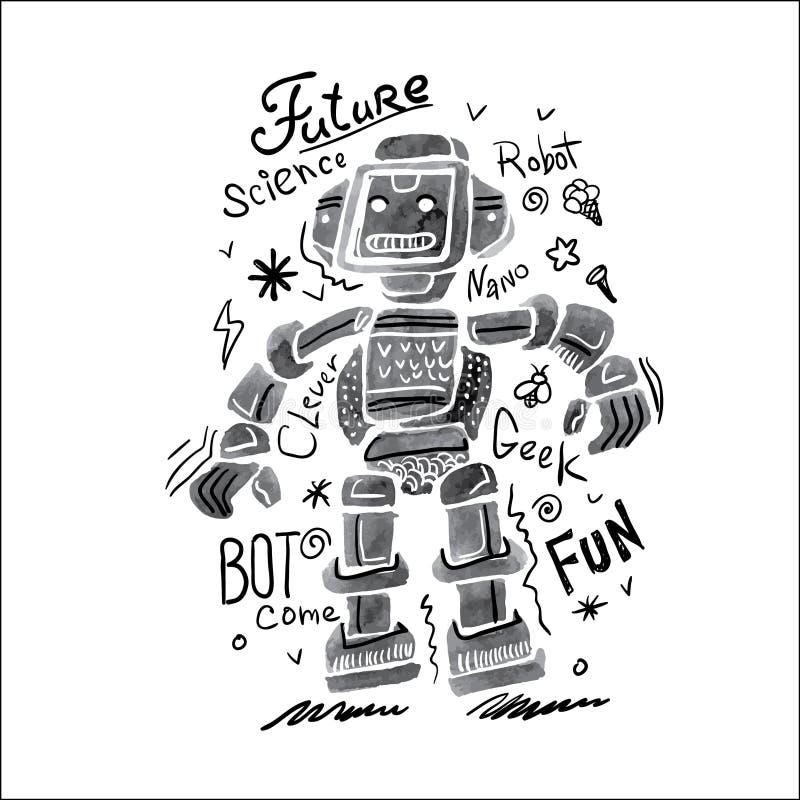 Robot d'aquarelle d'affiche illustration de vecteur
