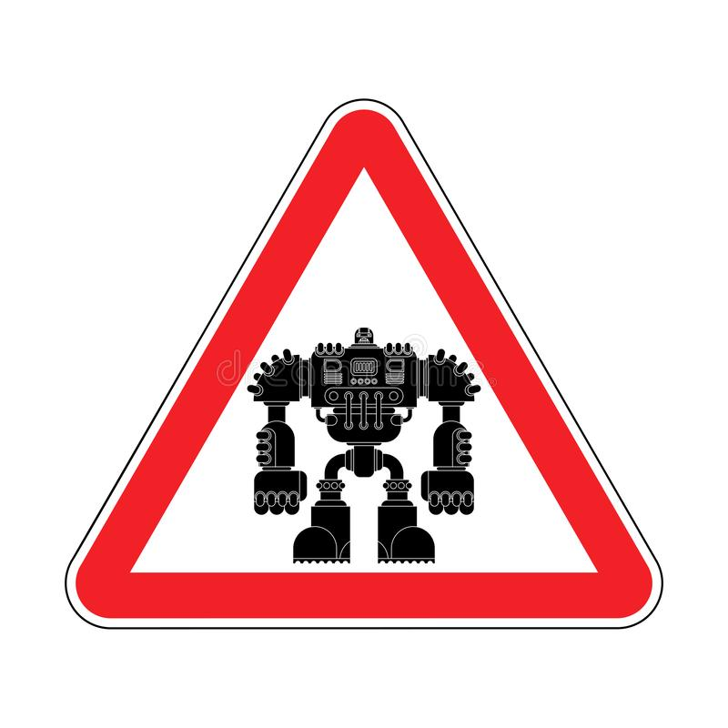 Robot d'attention Avenir rouge de guerrier de cyborg de panneau routier de précaution Le VE illustration de vecteur