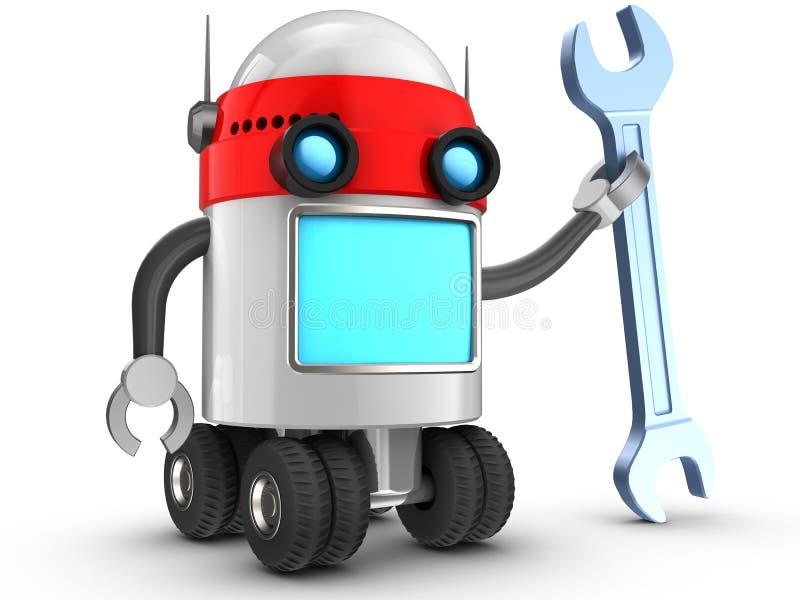 robot 3d au-dessus de blanc illustration stock