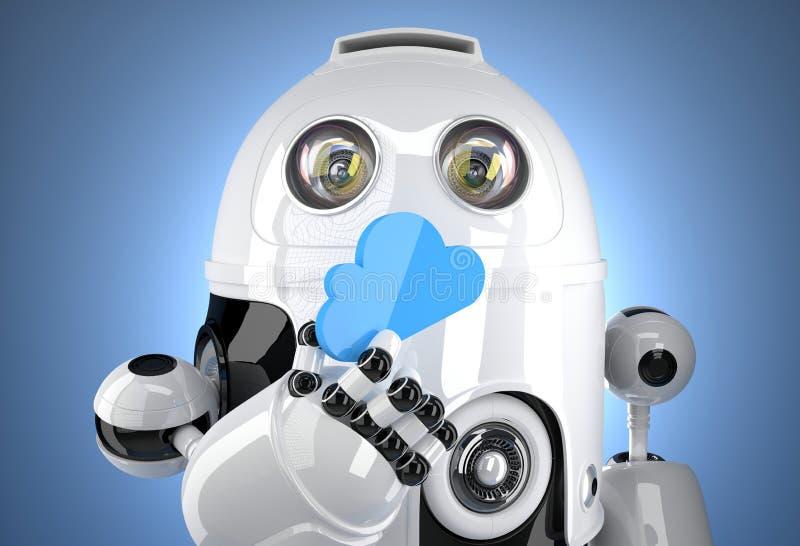 robot 3d avec le symbole de calcul de nuage Concept de Tchnology Chemin de Containsclipping illustration stock