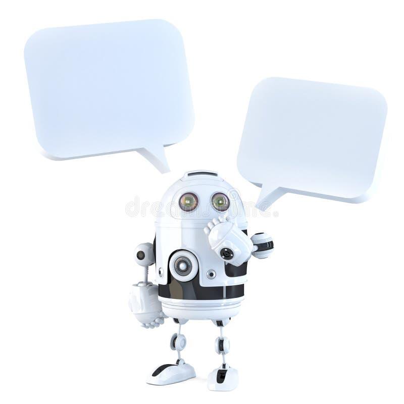 robot 3d con le bolle di chiacchierata Isolato, contiene il percorso di ritaglio illustrazione di stock
