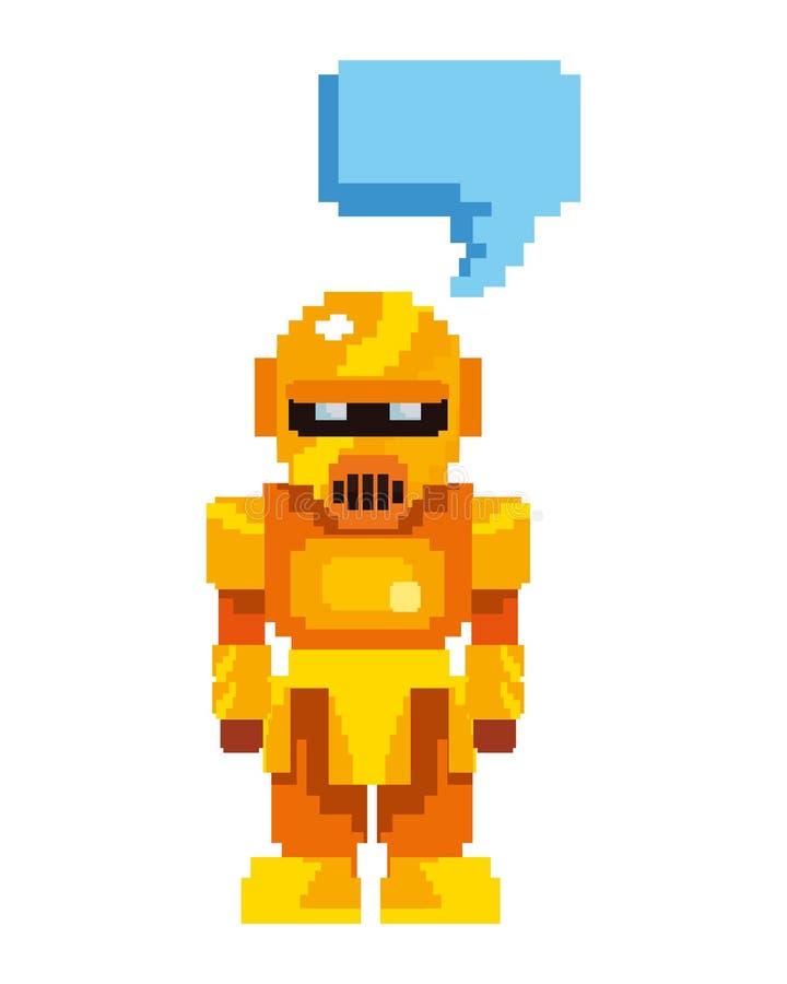 Robot d'or de jeu vidéo de pixel illustration de vecteur