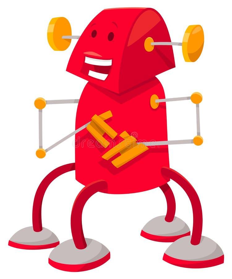 Robot d'imagination ou personnage de dessin animé rouge de droid illustration libre de droits