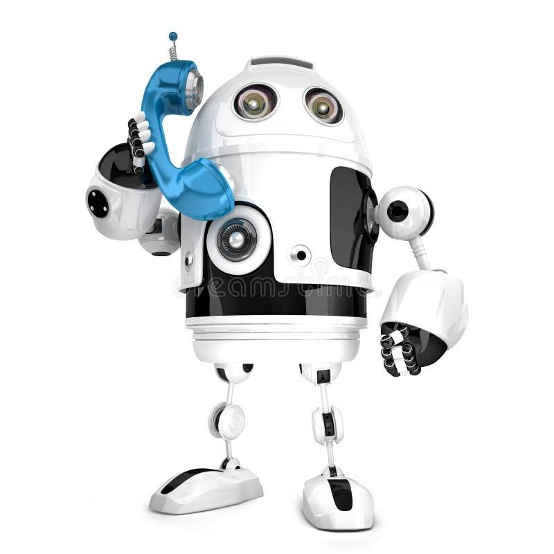 robot 3D med telefonröret isolerat Innehåller den snabba banan royaltyfri illustrationer