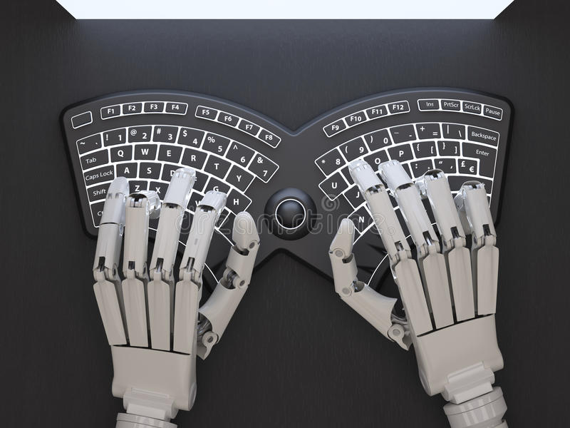 Robot dactylographiant sur le clavier auto-illuminé conceptuel images libres de droits