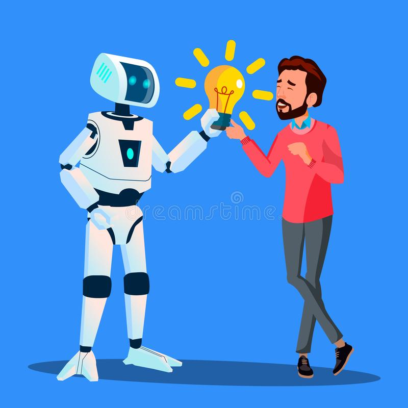 Robot Daje Żółtej żarówce biznesmena wektor button ręce s push odizolowana początku ilustracyjna kobieta ilustracja wektor