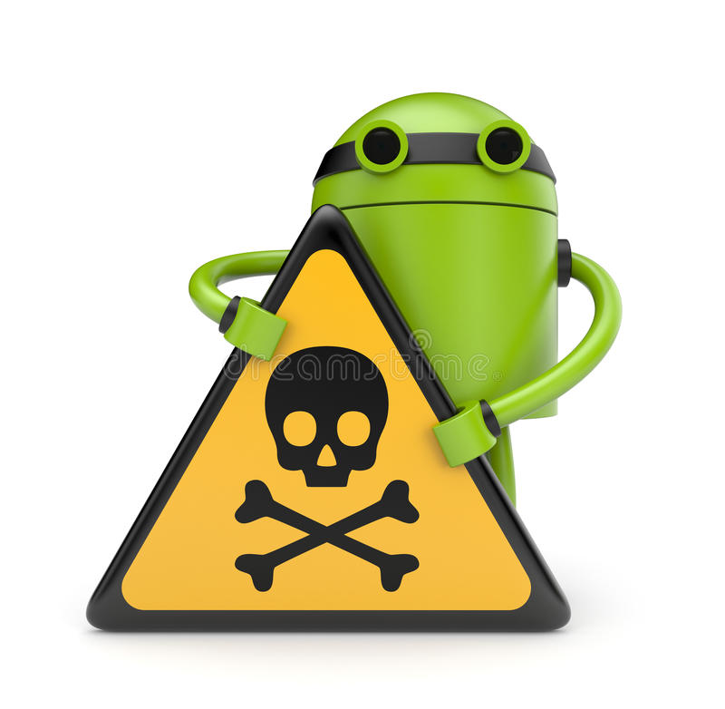 Robot with danger skull sign vector illustration