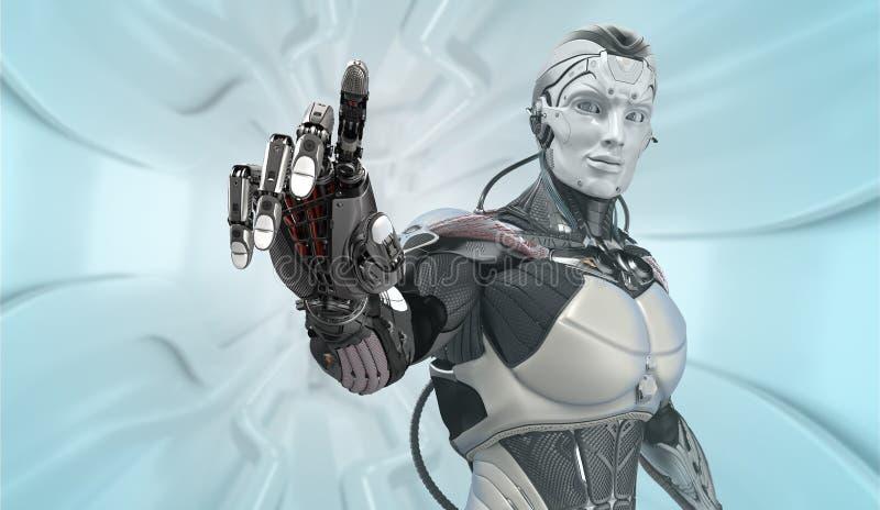 Robot dans la conception futuriste fonctionnant avec UI photographie stock