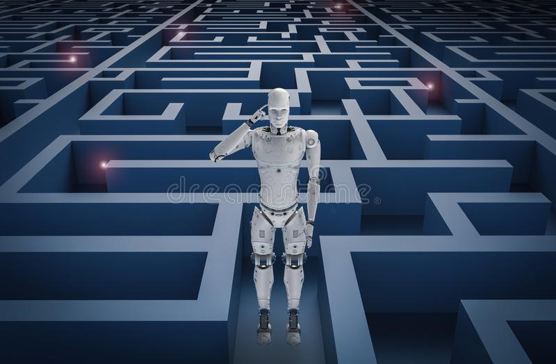 Robot dans le labyrinthe illustration stock