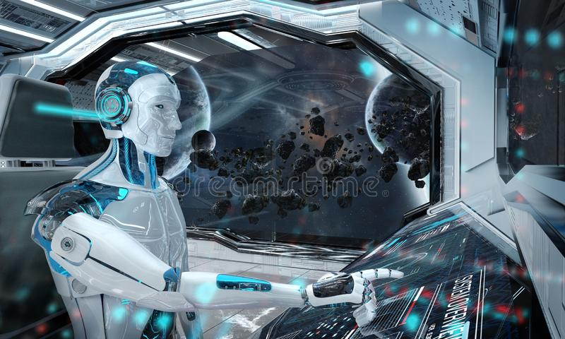 Robot dans une salle de commande pilotant un vaisseau spatial moderne blanc avec la vue de fen?tre sur le rendu de l'espace 3D illustration stock