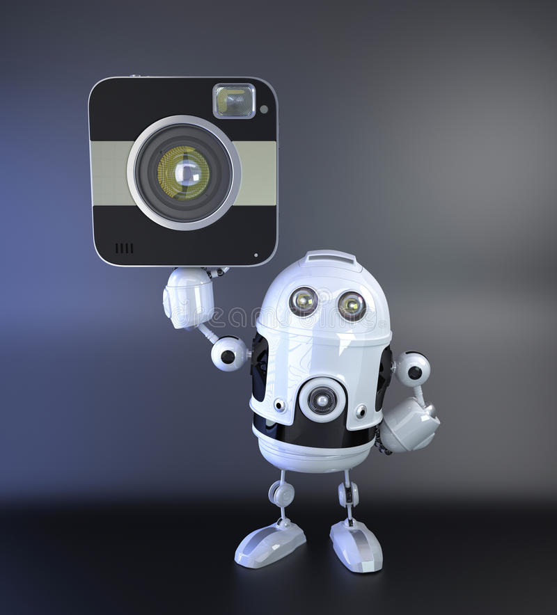 Robot de Android con amera squred DSLR stock de ilustración