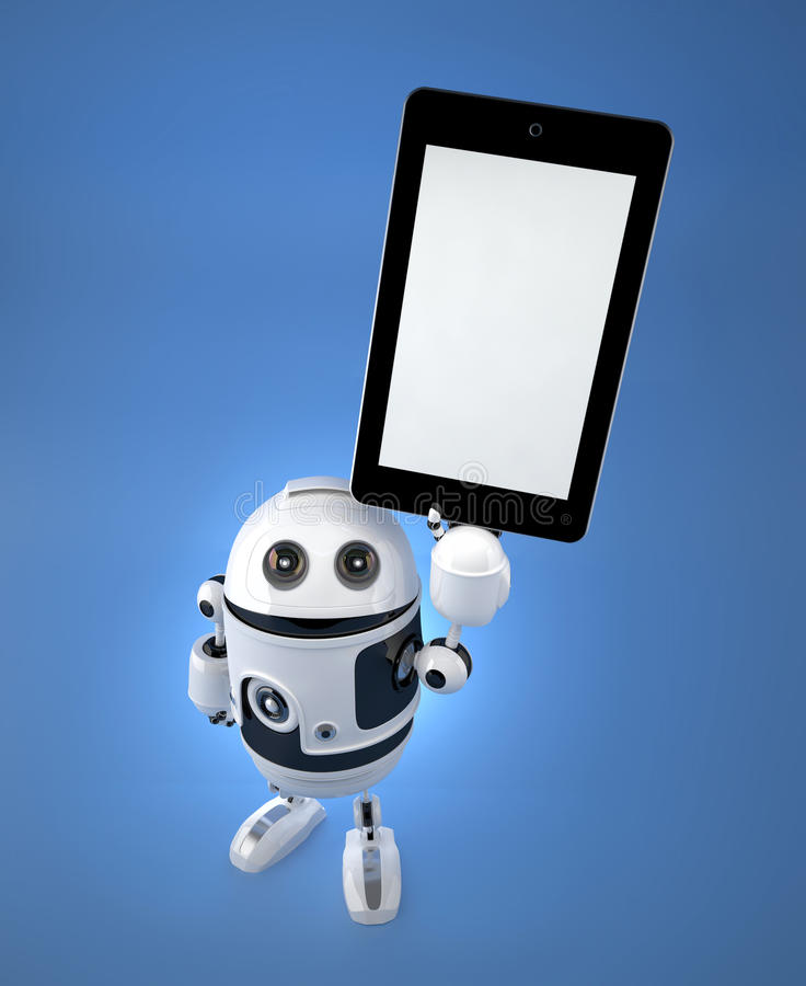 Robot de Android con PC de la tableta de la pantalla en blanco ilustración del vector