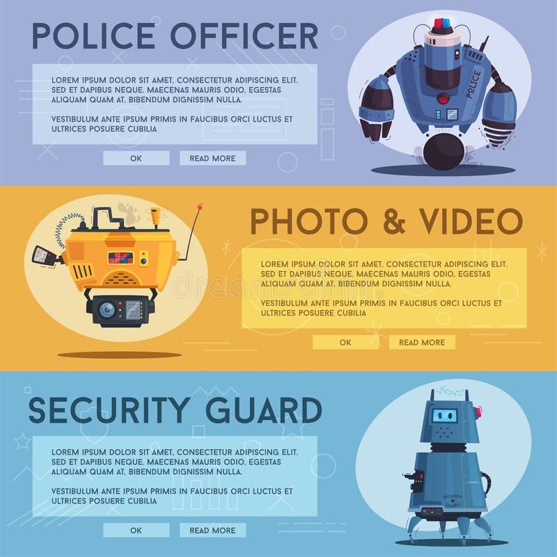 Robot de bourdon de police Cannette de fil de patrouille avec l'intelligence artificielle illustration libre de droits