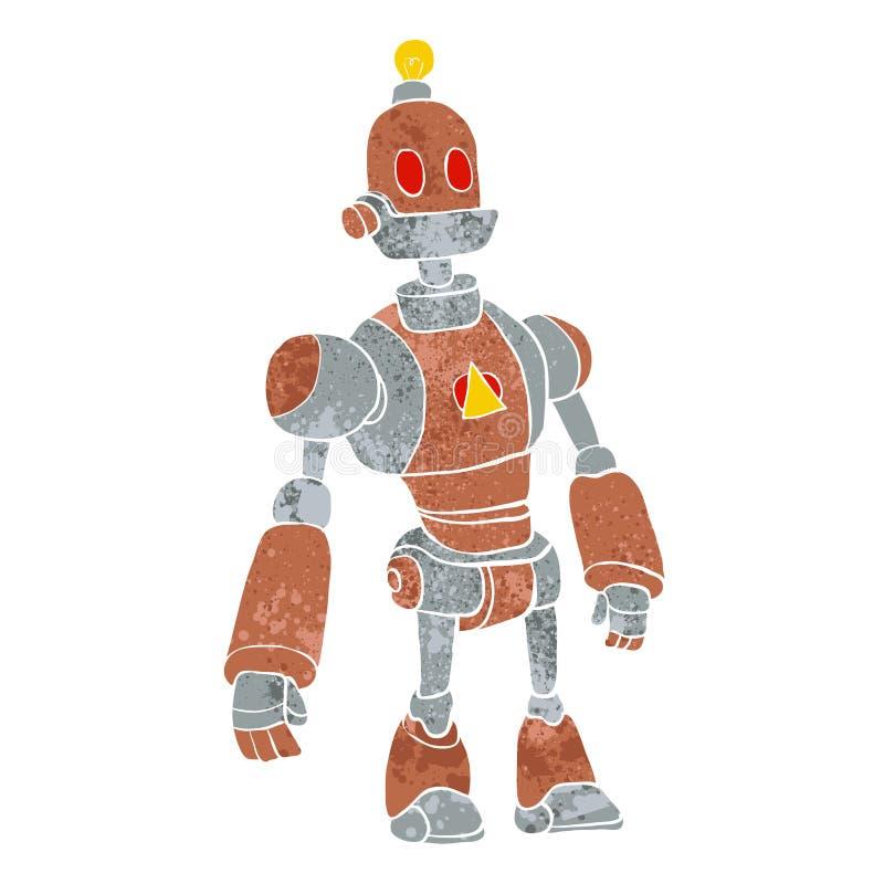 Robot de Brown avec la tête de lampe illustration stock