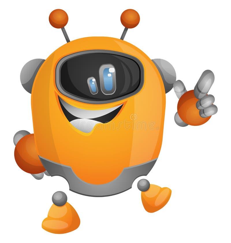 Robot de caricatura apuntando con un vector de ilustración de dedo stock de ilustración