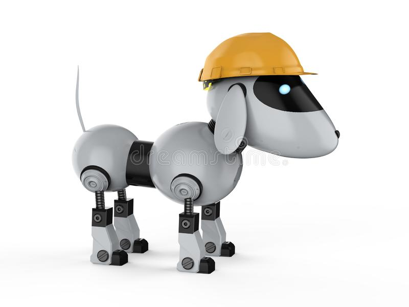 Robot de chien avec le casque jaune illustration stock