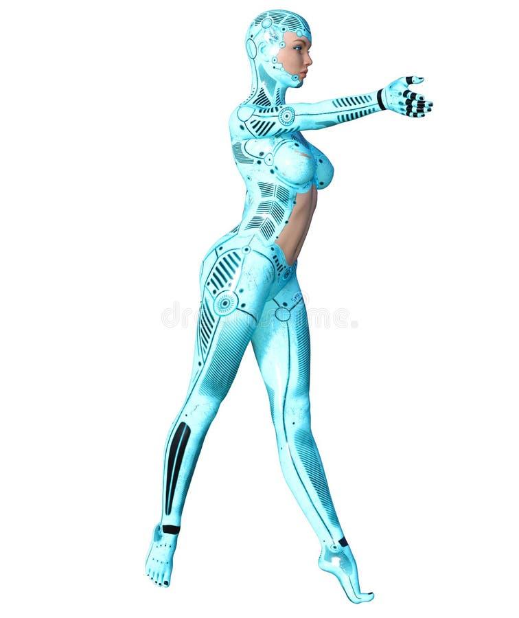 Robot de femme de danse Droid bleu en métal Intelligence artificielle illustration libre de droits