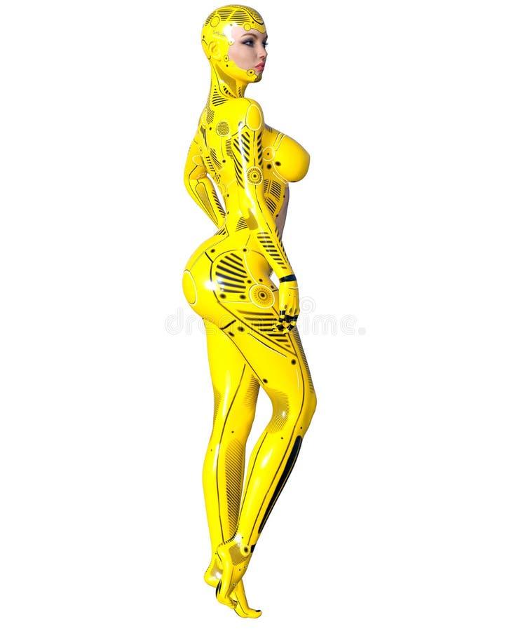 Robot de femme de danse Droid en métal jaune Intelligence artificielle illustration de vecteur