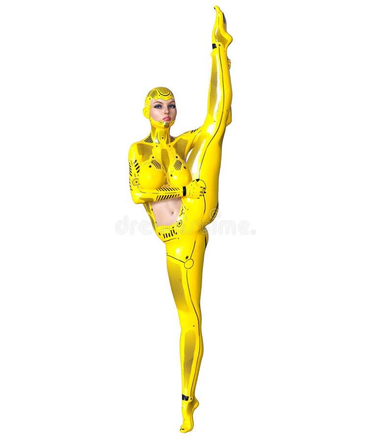 Robot de femme de danse Droid en métal jaune Intelligence artificielle illustration libre de droits
