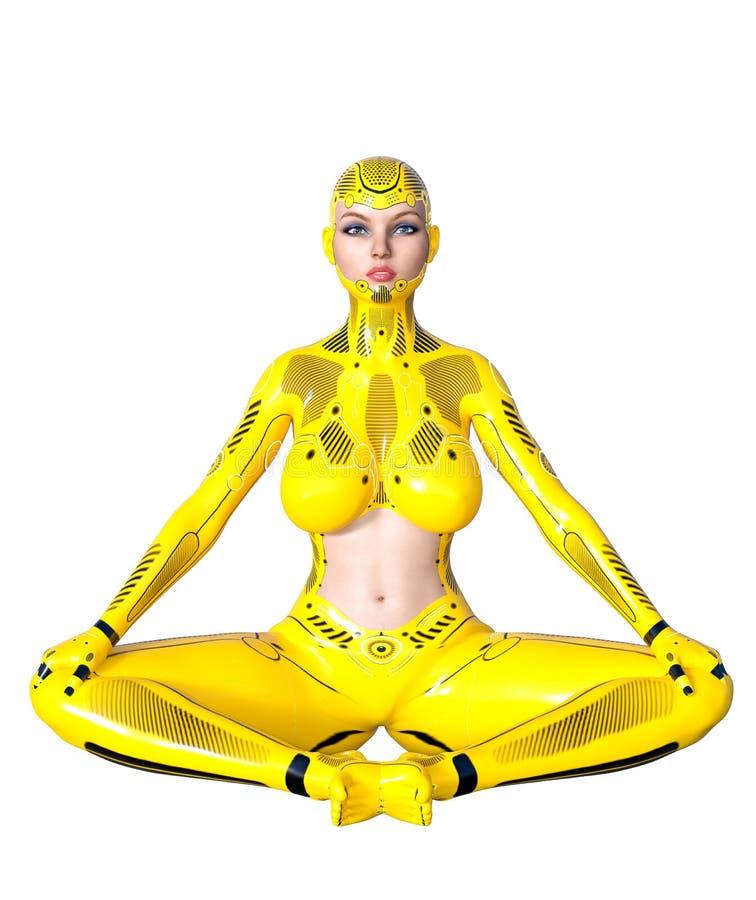 Robot de femme de danse Droid en métal jaune Intelligence artificielle illustration stock