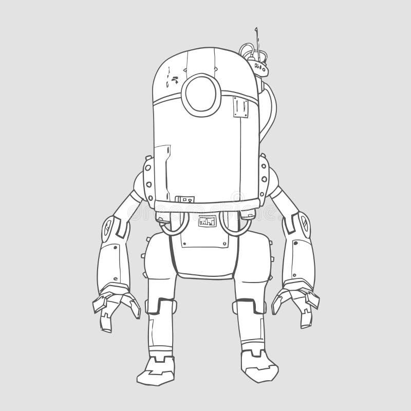 Robot de humanoïde, androïde avec l'intelligence artificielle Illustration de vecteur de découpe d'isolement illustration libre de droits