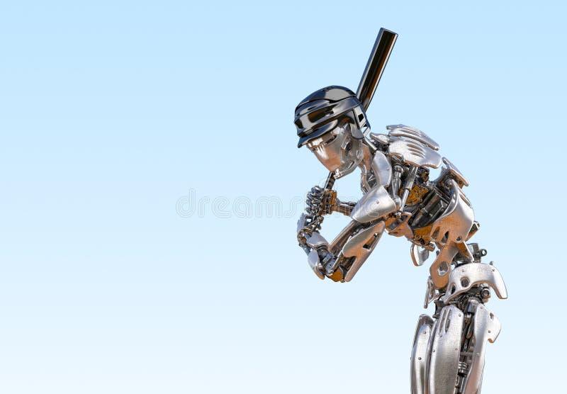 Robot de joueur de baseball Concept robotique d'intégration d'humain et de cyborg Illustration robotique de la technologie 3D illustration libre de droits