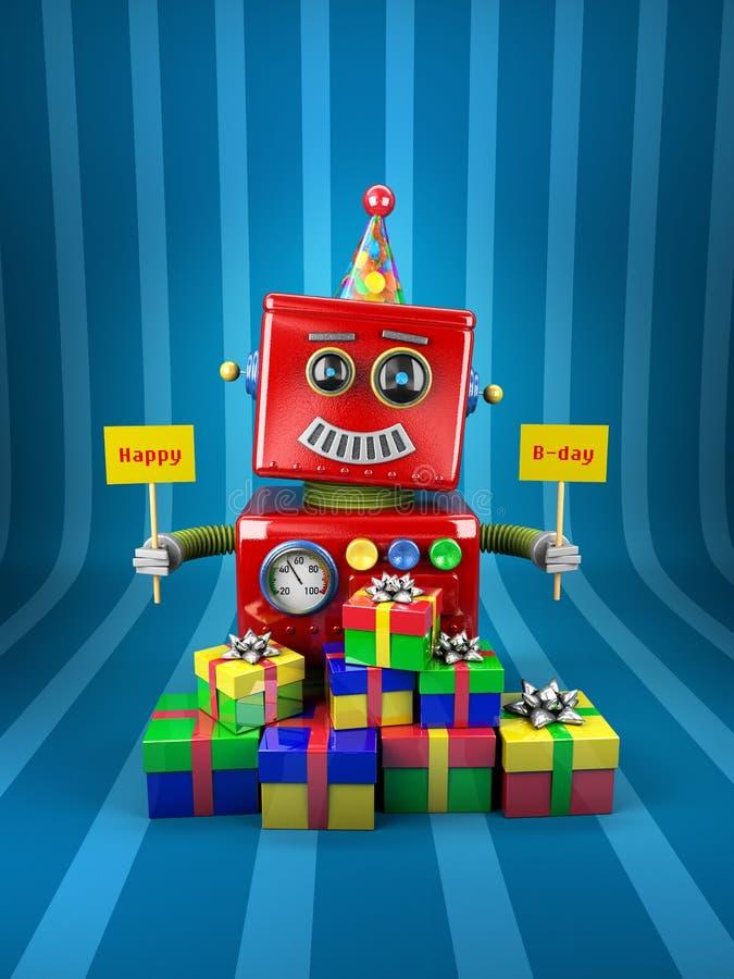 Robot de joyeux anniversaire illustration de vecteur