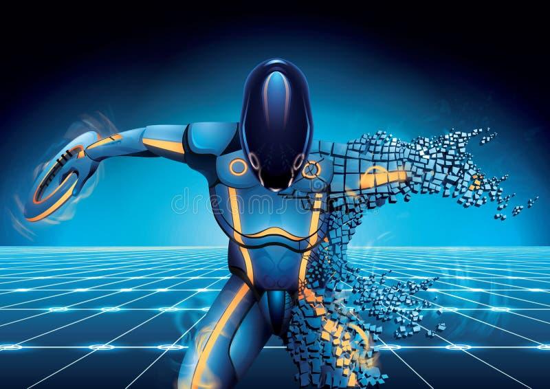 robot de la Ciencia-ficción con el disco a disposición que cae abajo a los pedazos en fondo oscuro stock de ilustración
