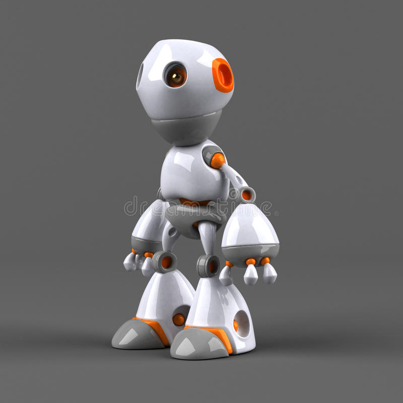 Robot de la historieta - ejemplo 3D stock de ilustración