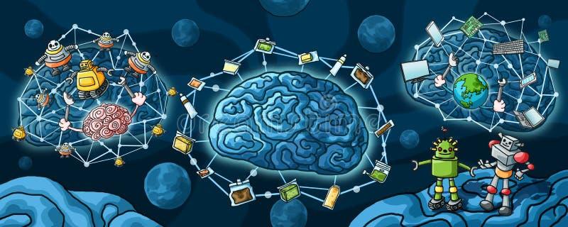 Robot de la inteligencia artificial y pintura del cerebro ilustración del vector