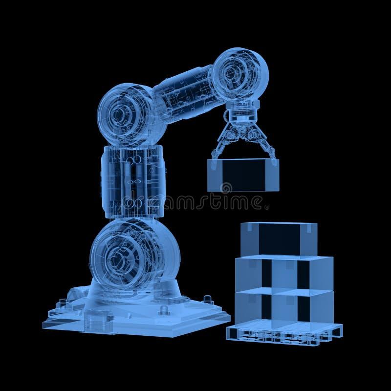 Robot de la radiografía con las cajas stock de ilustración
