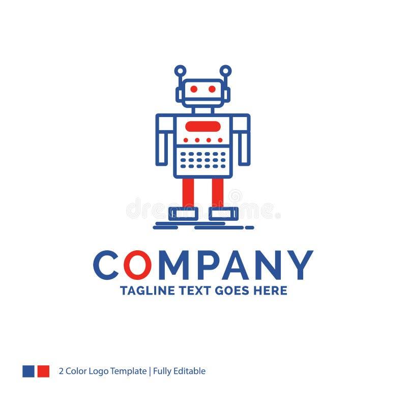 Robot de Logo Design For del nombre de compañía, Android, artificial, bot, te stock de ilustración