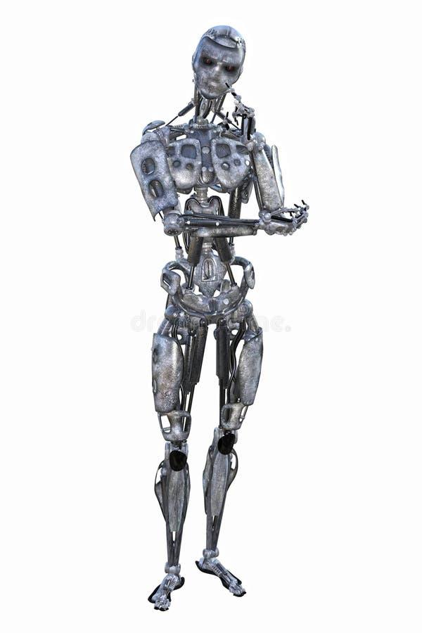 Robot de pensamiento de la inteligencia artificial ilustración del vector