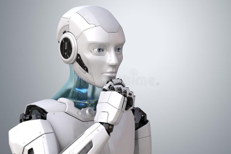 Robot de pensamiento del cyborg stock de ilustración