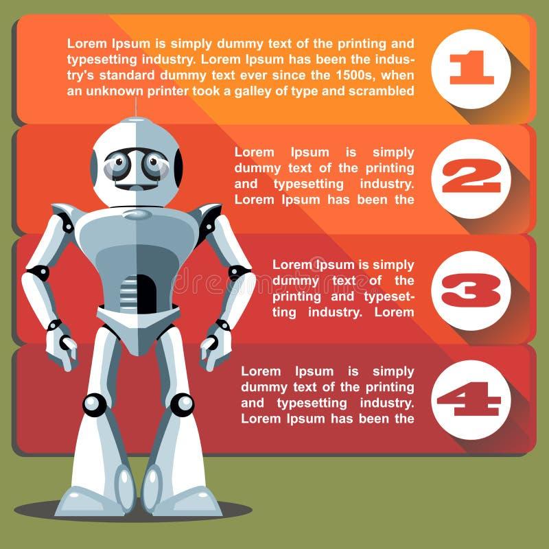 Robot de plata del humanoid que presenta el gráfico de la información stock de ilustración