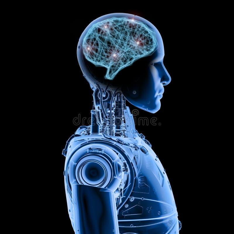 Robot de rayon X avec le cerveau d'AI illustration libre de droits