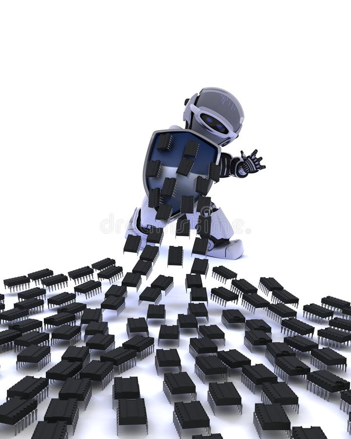 Robot defending against virus attack. 3D Render of a Robot defending against virus attack royalty free illustration