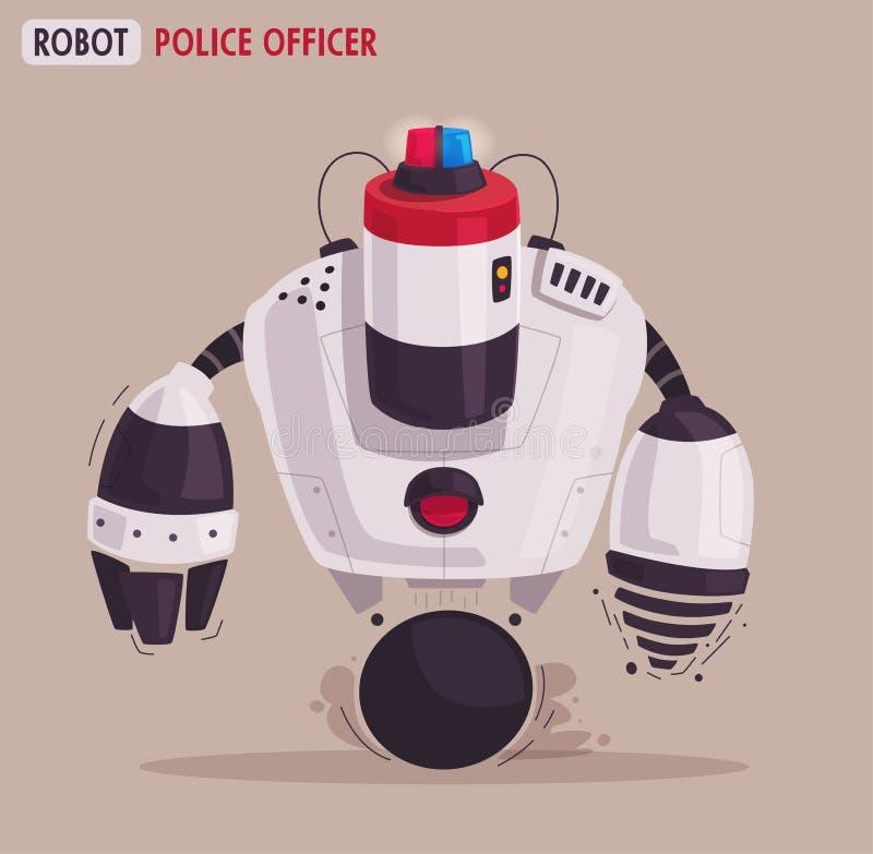 Robot del abejón de la policía Poli de la patrulla con inteligencia artificial ilustración del vector