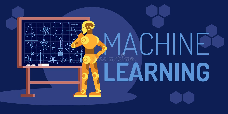 Robot del aprendizaje de máquina que mira el ejemplo plano del vector stock de ilustración