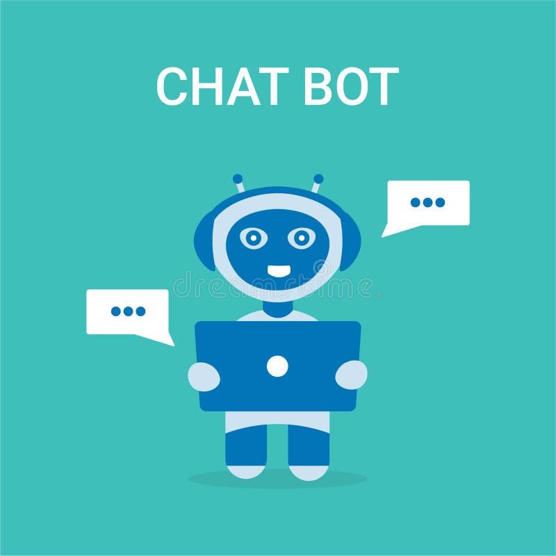 Robot del bot de la charla con el carácter del ordenador portátil stock de ilustración