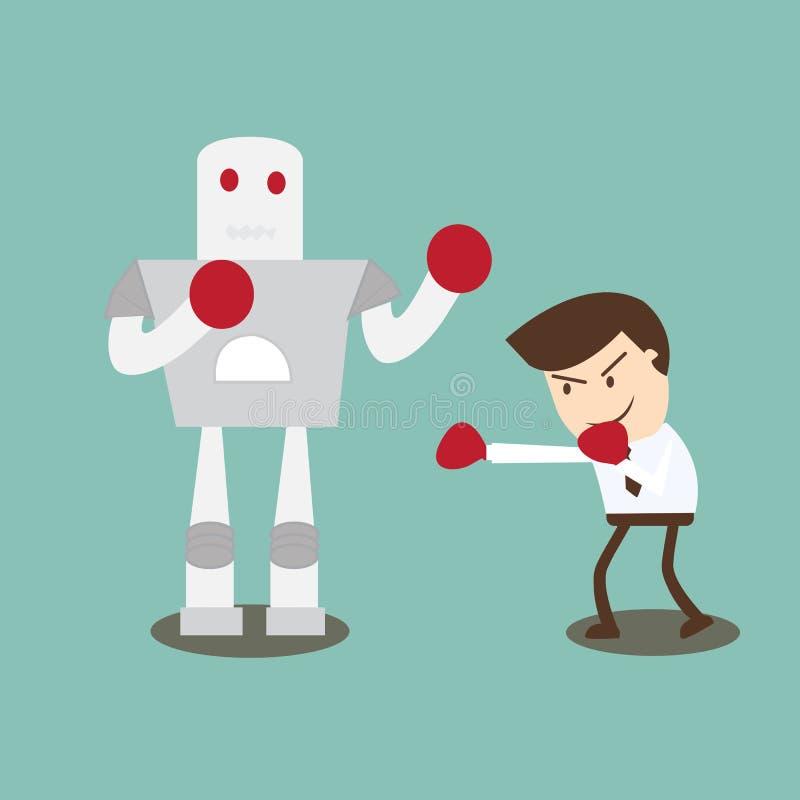 Robot del boxeo del hombre de negocios - superar obstáculos con valor ilustración del vector