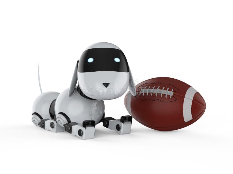 Robot del cane con la palla di football americano illustrazione di stock