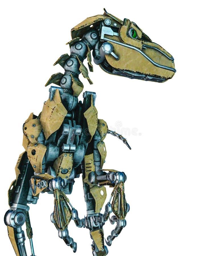 Robot del dinosaurio en un fondo blanco ilustración del vector