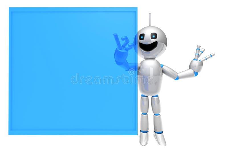 Robot del fumetto facendo uso di uno schermo attivabile al tatto virtuale royalty illustrazione gratis