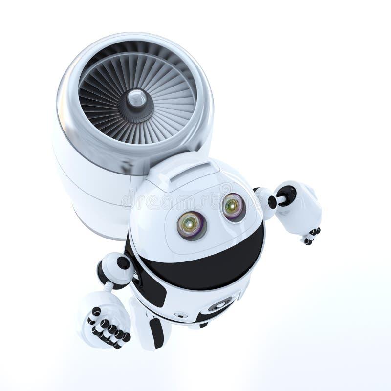 Robot del héroe del vuelo. Concepto de la tecnología ilustración del vector