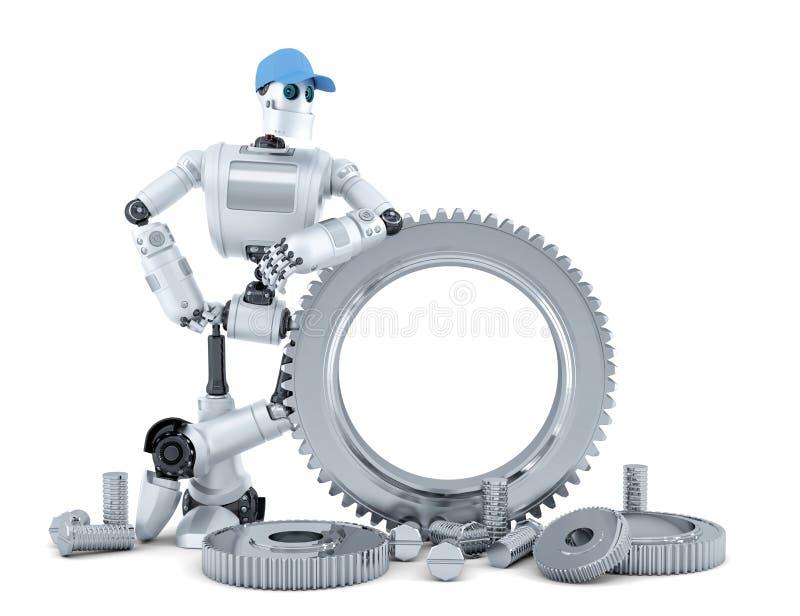 Robot del ingeniero Concepto de la tecnología Aislado Contiene la trayectoria de recortes stock de ilustración