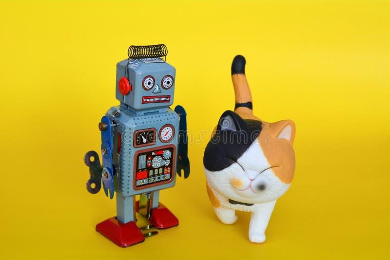 Robot del juguete de la lata del vintage y un gato fotografía de archivo libre de regalías