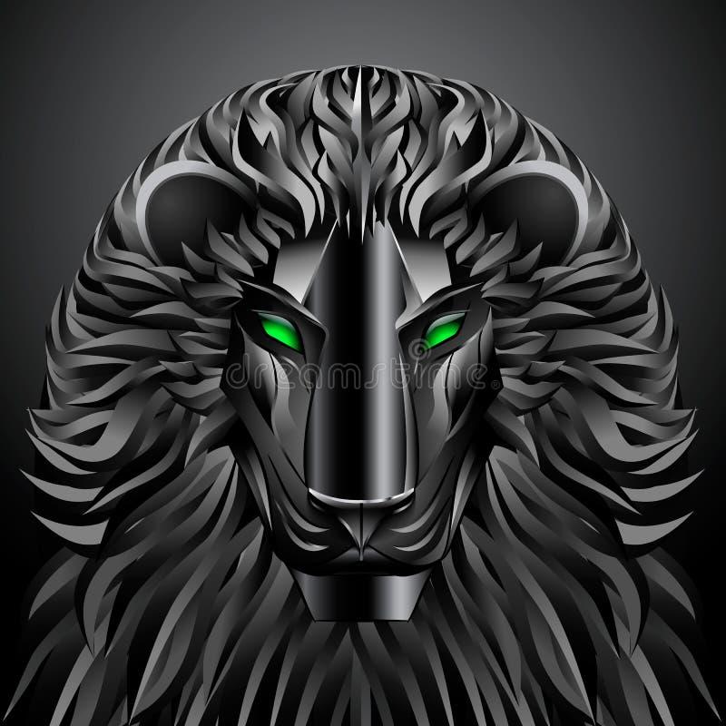 Robot del metal del cyborg de la tecnología del negro del león de los animales libre illustration